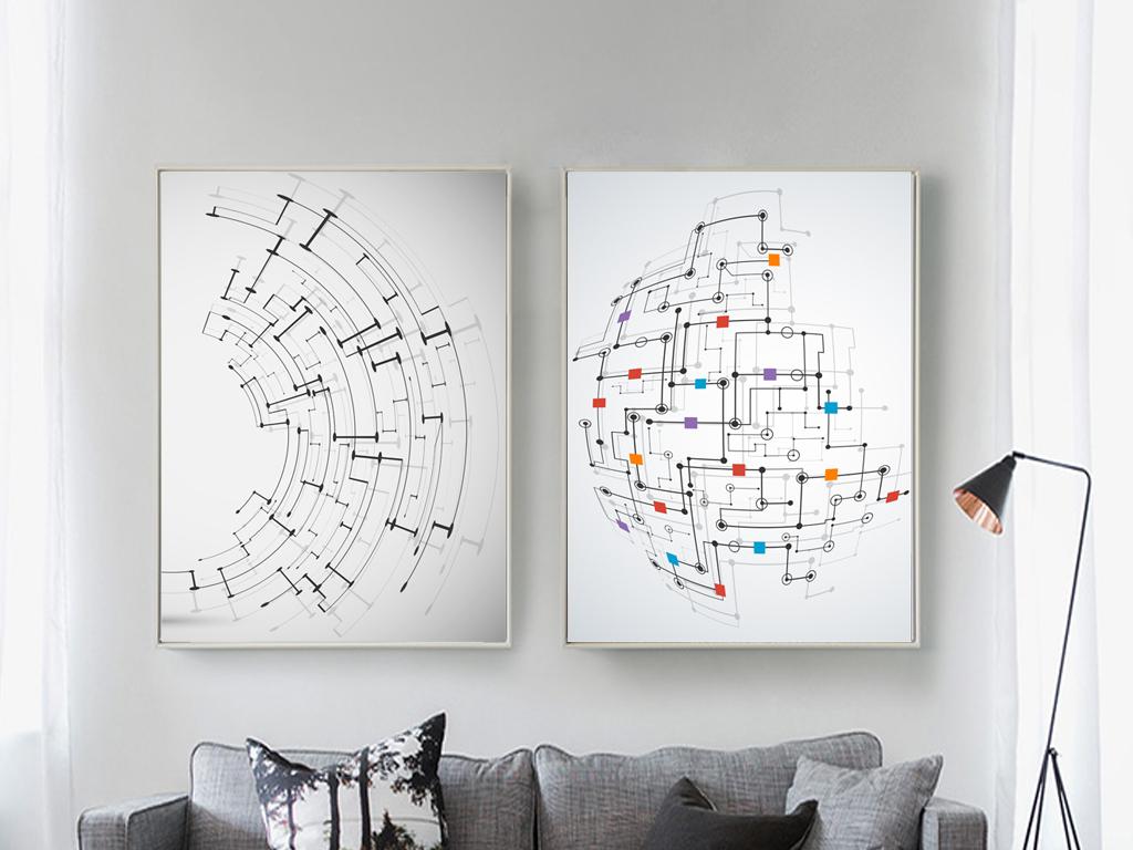 艺术欧式几何半球抽象装饰画抽象几何几何无框画抽象