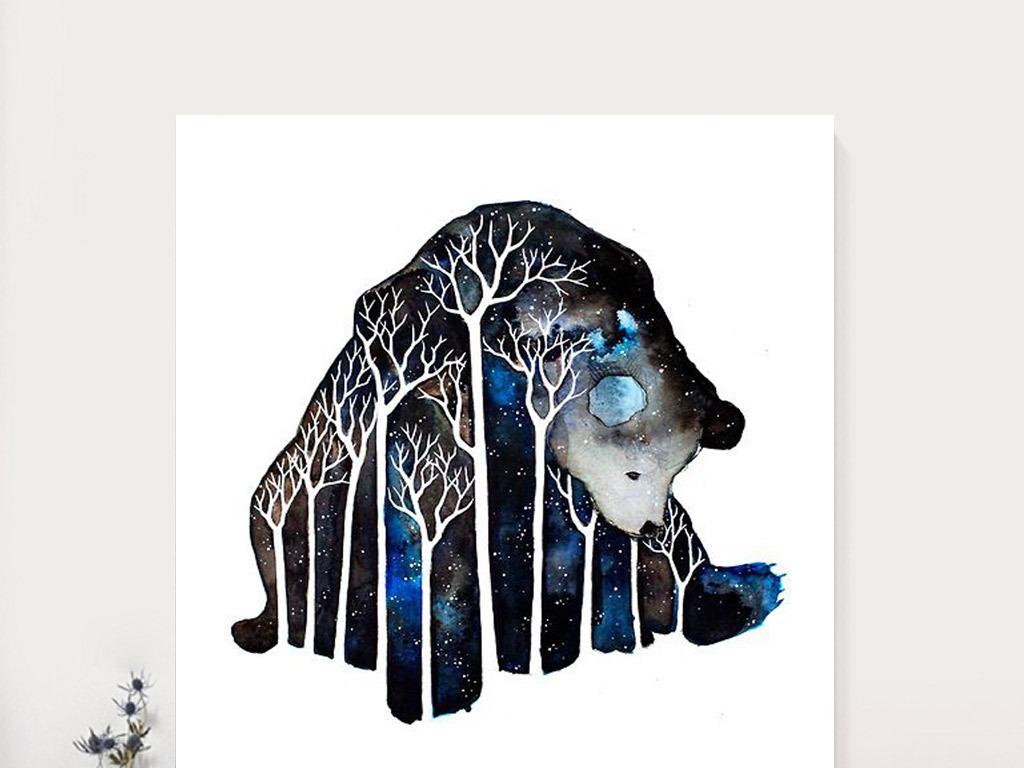 动物矢量手绘水彩画现代简约室内装饰画图片