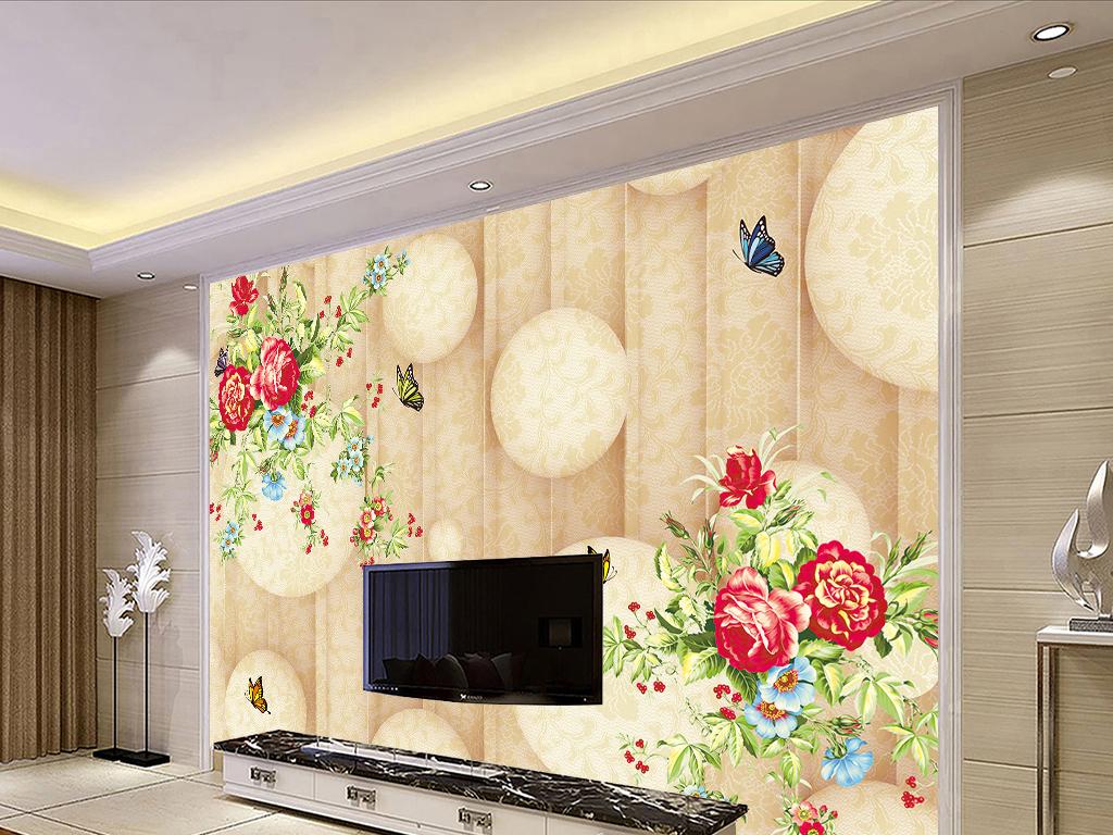 3d立体圆欧式花纹电视背景墙
