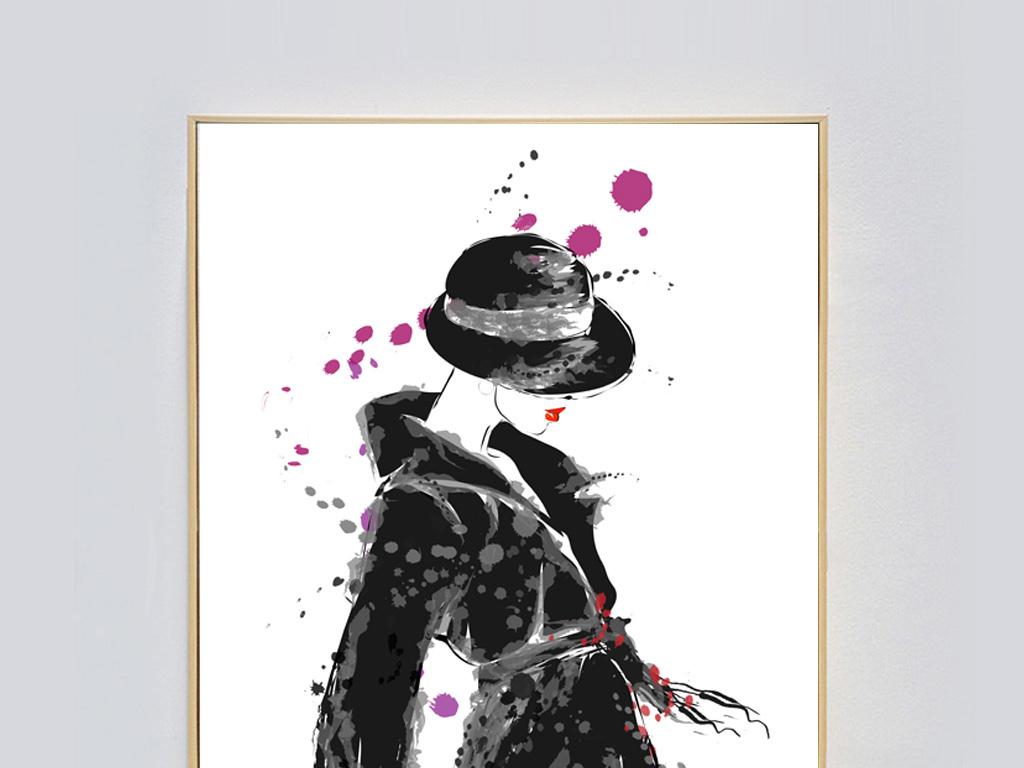 背景墙|装饰画 无框画 人物无框画 > 手绘艺术时尚女郎水彩画创意无框