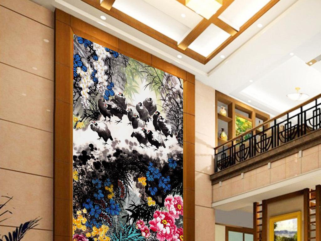 设计作品简介: 彩墨牡丹花鸟国画中式玄关过道背景墙