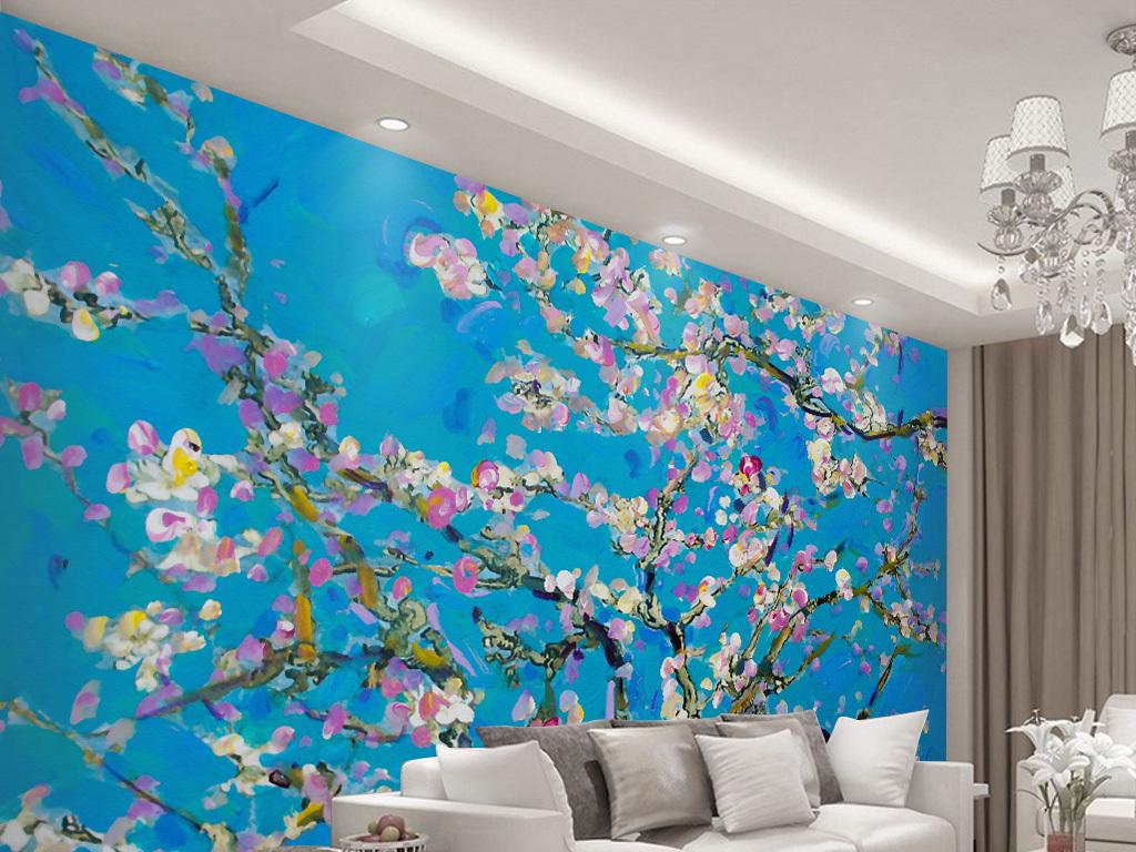新中式手绘桃花壁画背景墙