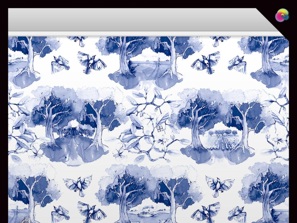 手绘现代简约青花瓷中式工笔花鸟背景墙