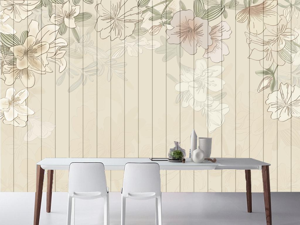 欧式清新木板田园花卉客厅电视背景墙