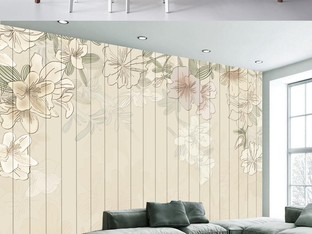 背景墙|装饰画 电视背景墙 手绘电视背景墙 > 欧式清新木板田园花卉