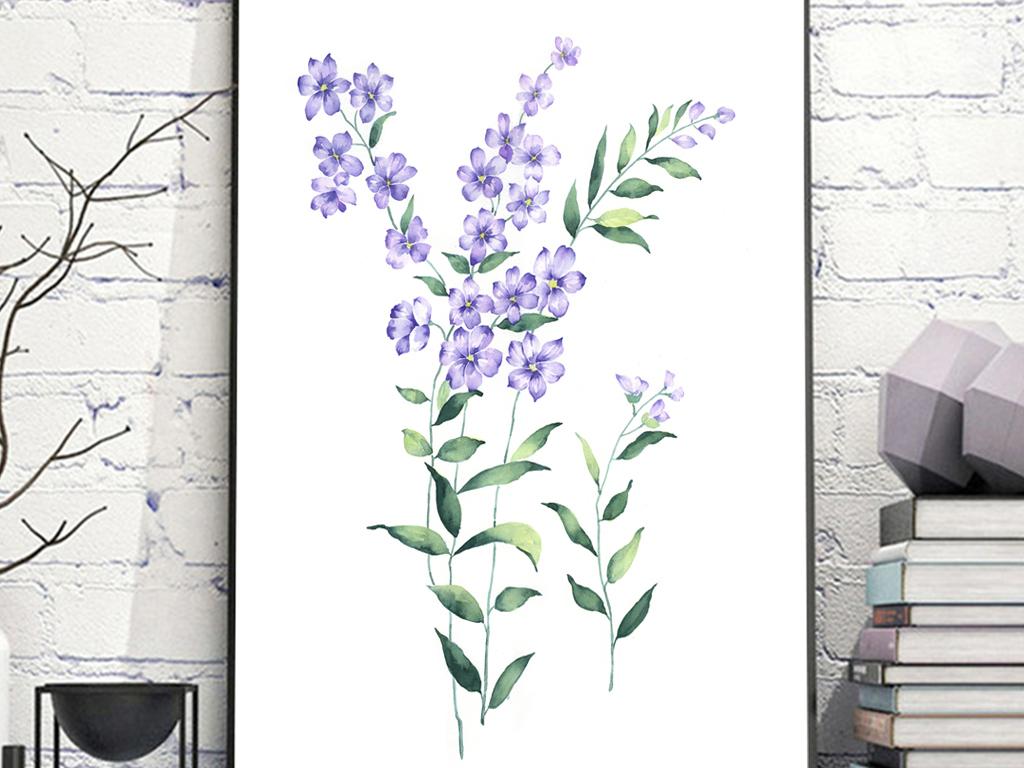 素雅水彩手绘花朵无框画