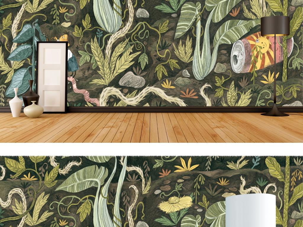 手绘热带雨林客厅背景墙电视墙