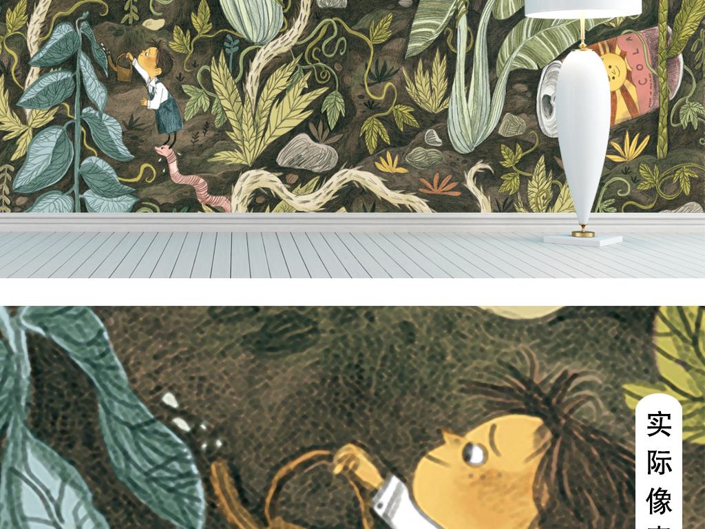 背景墙|装饰画 电视背景墙 手绘电视背景墙 > 手绘热带雨林客厅背景墙