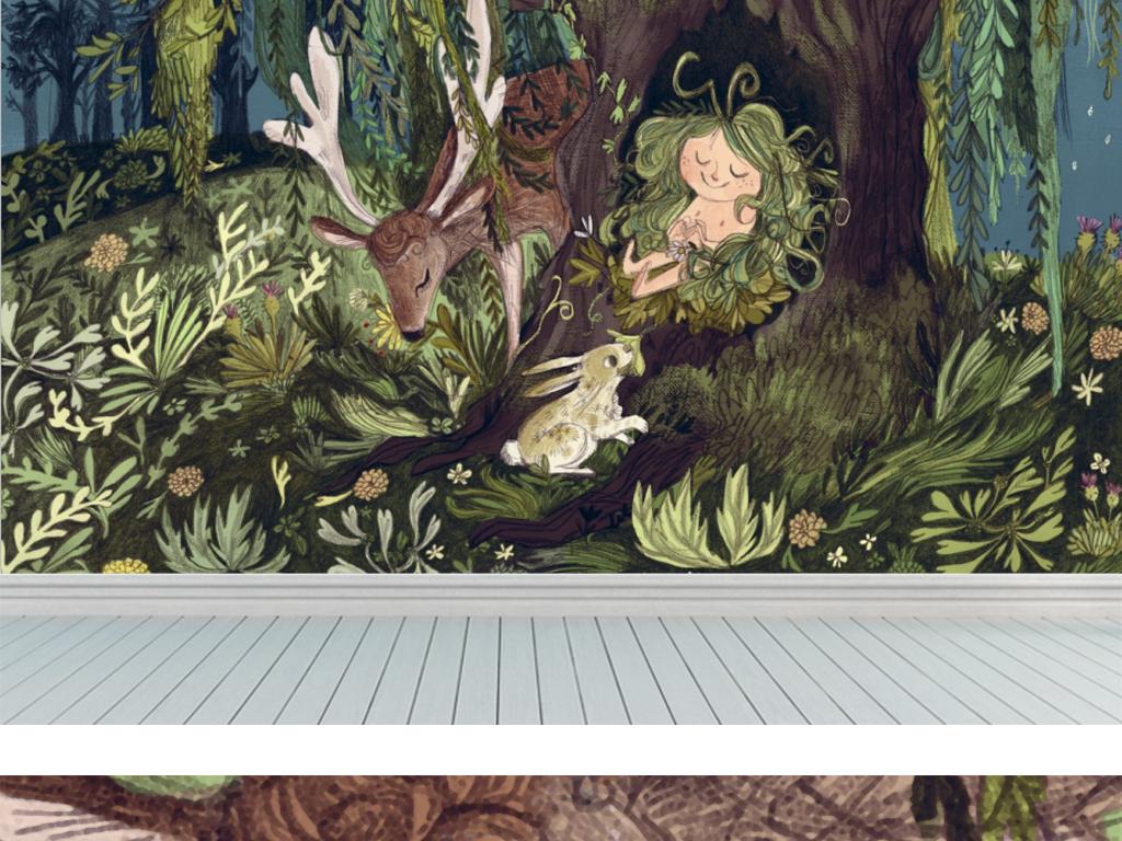 现代手绘欧式艺术麋鹿森林背景墙装饰画