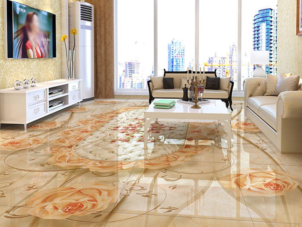 极品欧式花纹玫瑰花大理石3d立体地砖地板