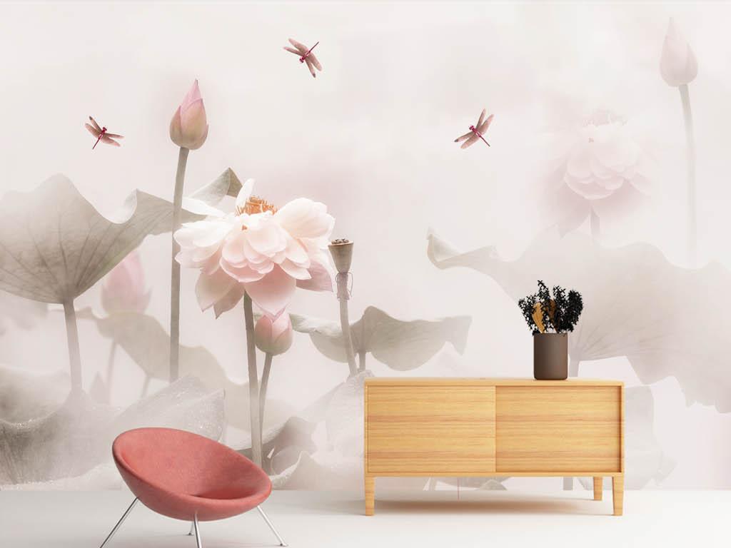 唯美禅意荷塘蜻蜓背景墙