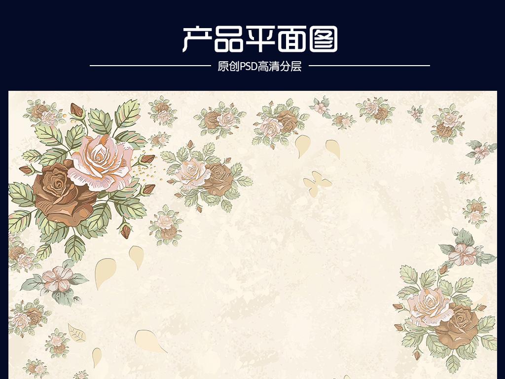 手绘花小碎花现代花背景墙