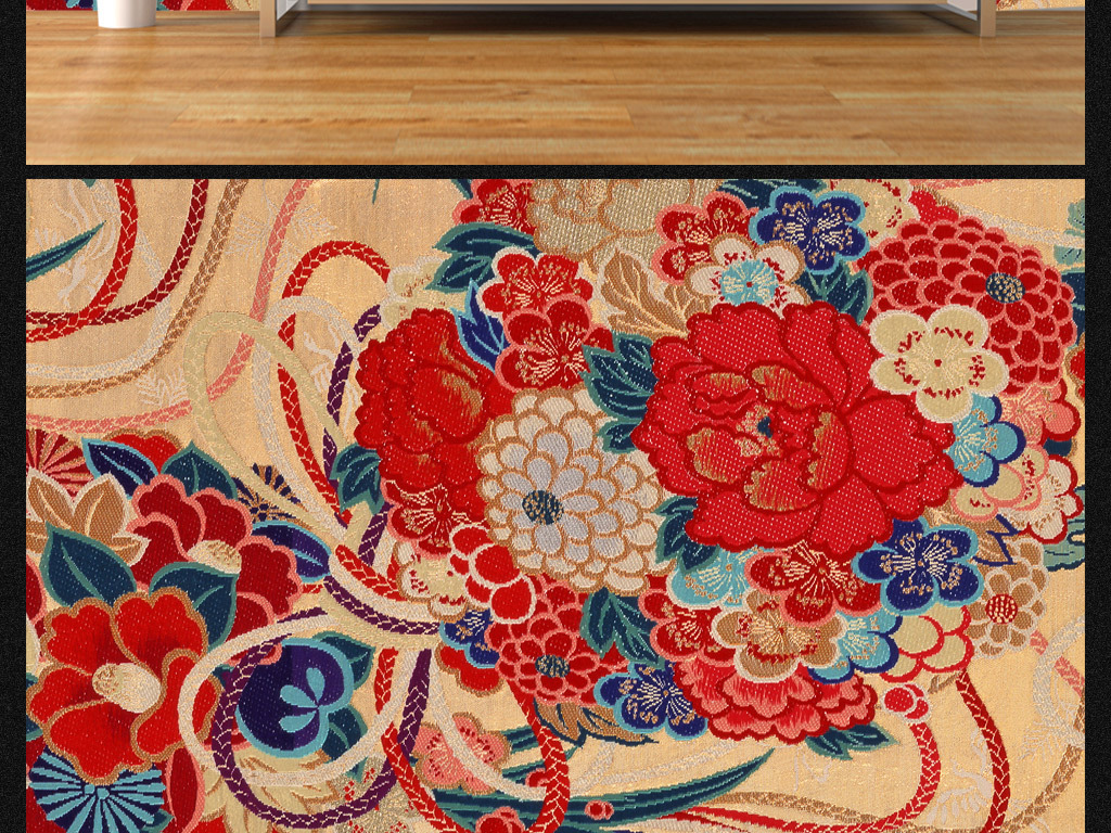 传统日式牡丹花绣花面料背景墙图片