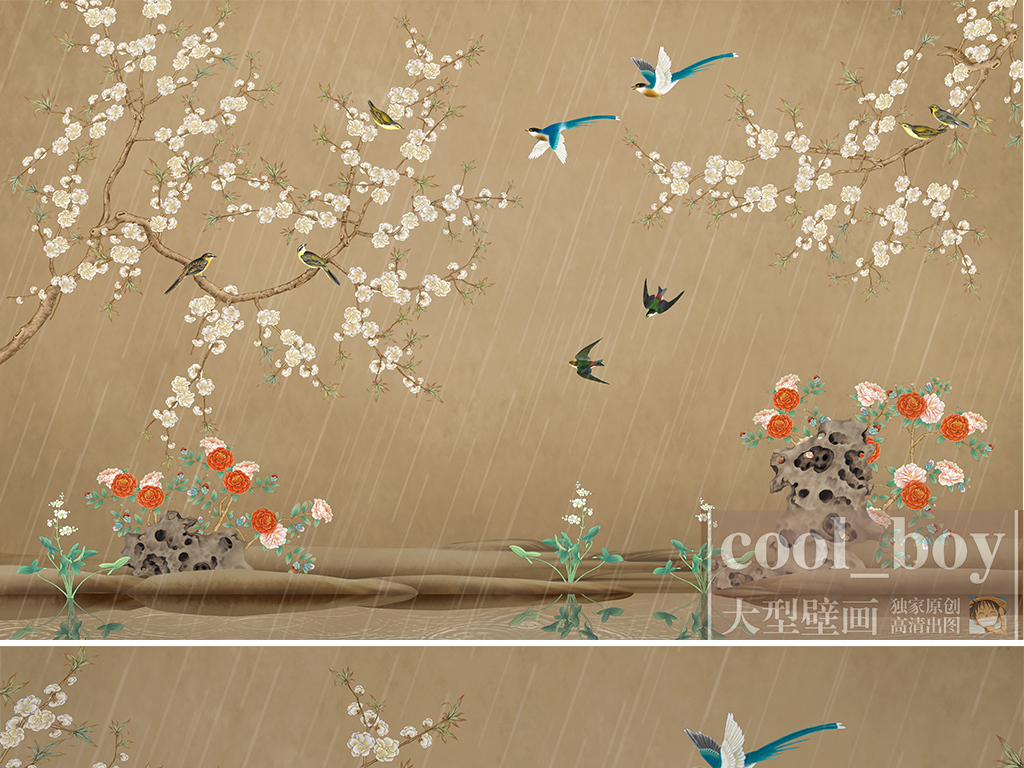 手绘背景墙中国风                                  下雨手绘