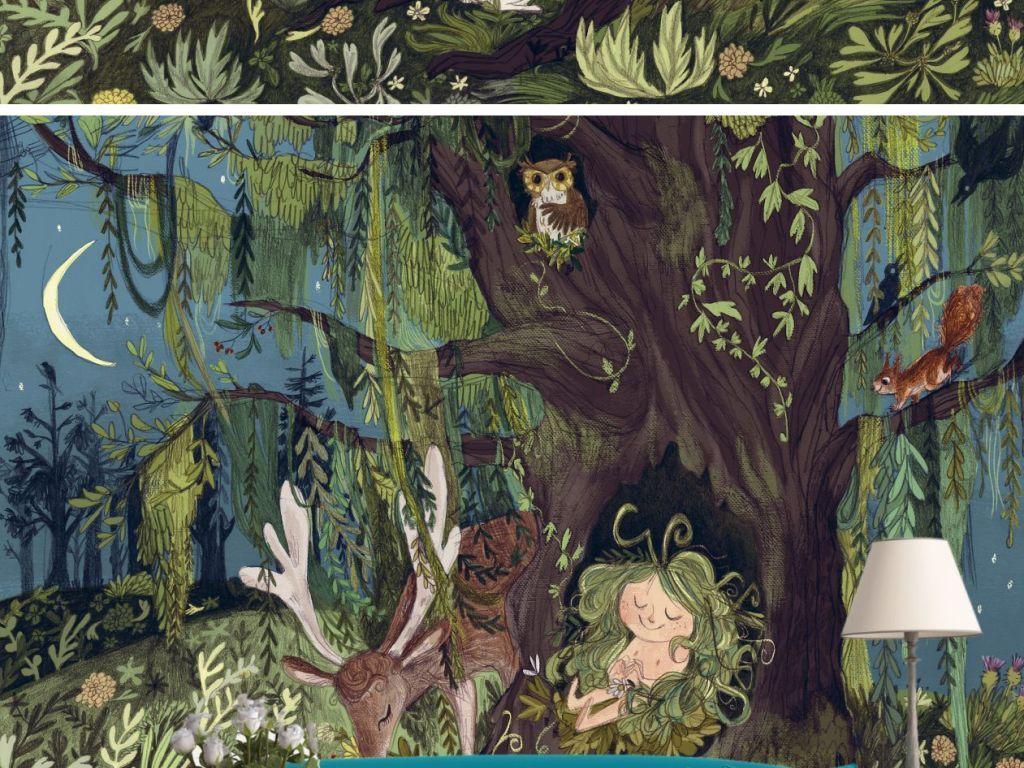 手绘森林月光麋鹿墙纸