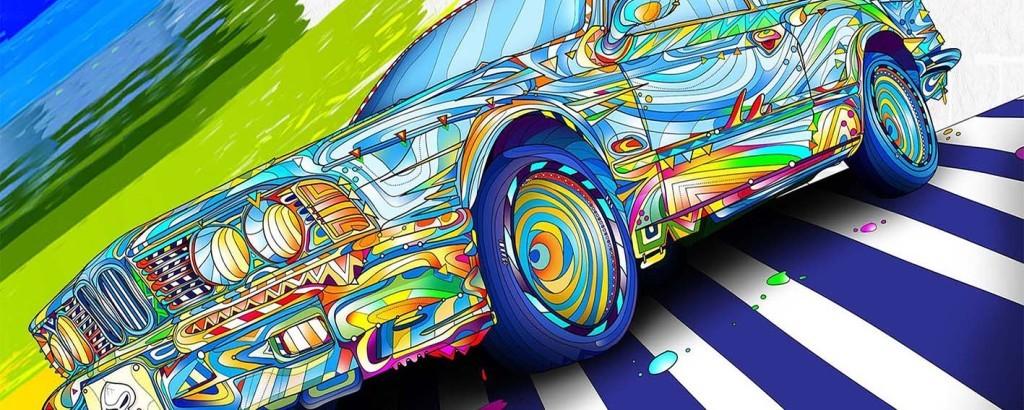 涂鸦汽车背景墙 15837996 酒吧 KTV装饰背景墙高清图片