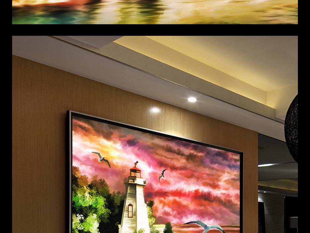灯塔风景油画乡村大海油画帆船油画风景图片中国风景