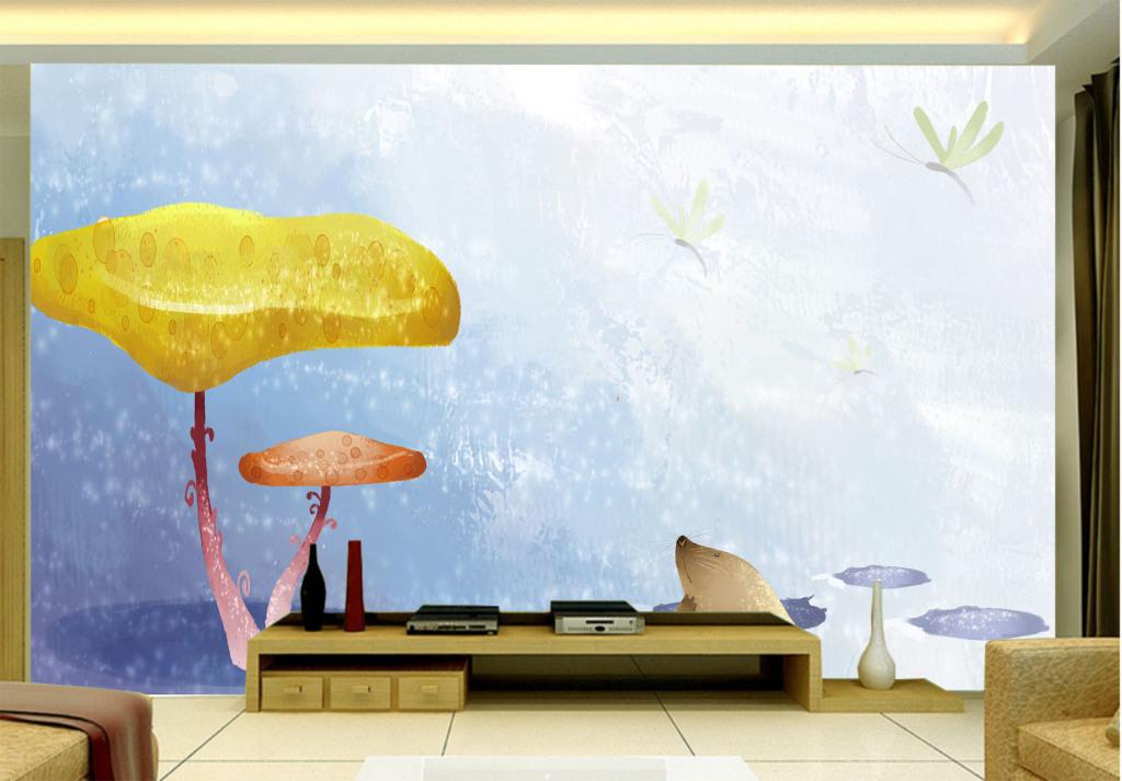 蘑菇卡通红蜻蜓