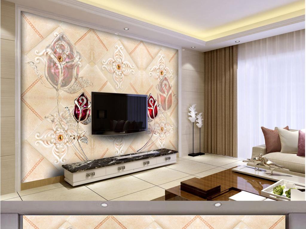 电视墙珠宝花朵美式欧式软包软皮大理石背景墙玫瑰花