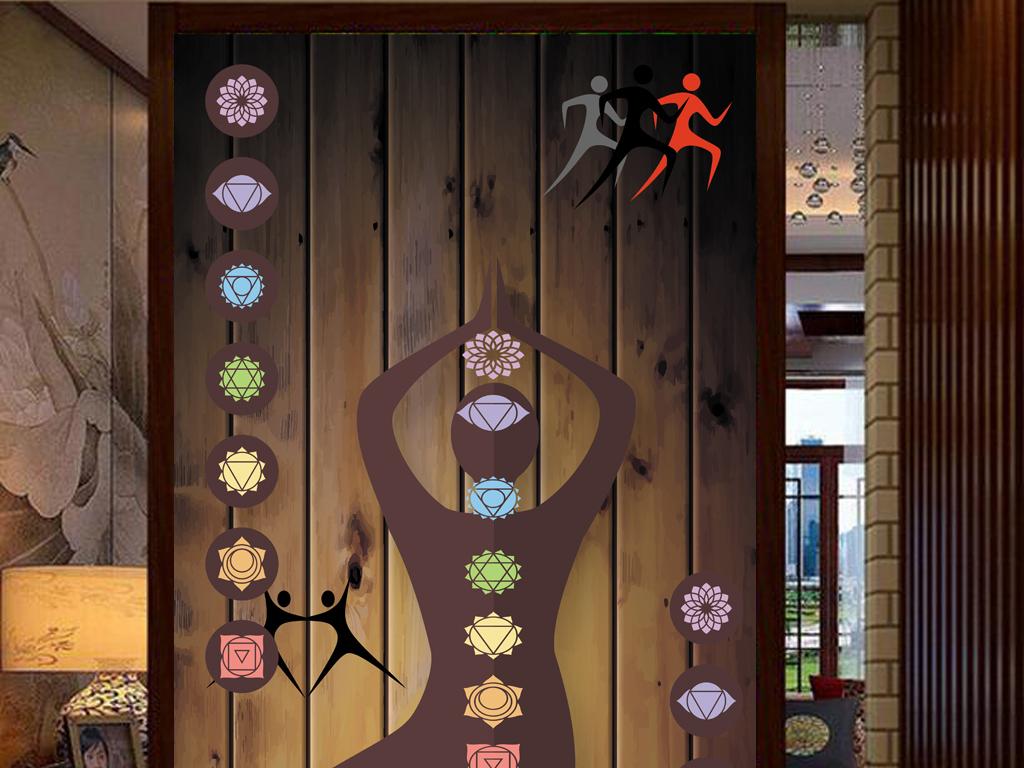 3d木板背景瑜伽造型工装玄关