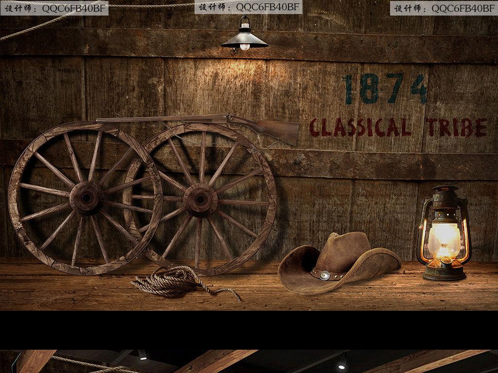 背景墙|装饰画 工装背景墙 酒吧|ktv装饰背景墙 > 复古怀旧木板车轮