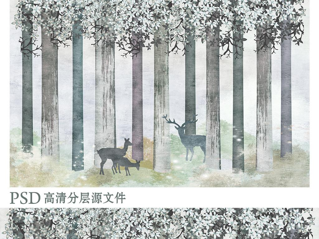 手绘树林北欧艺术背景墙装饰画