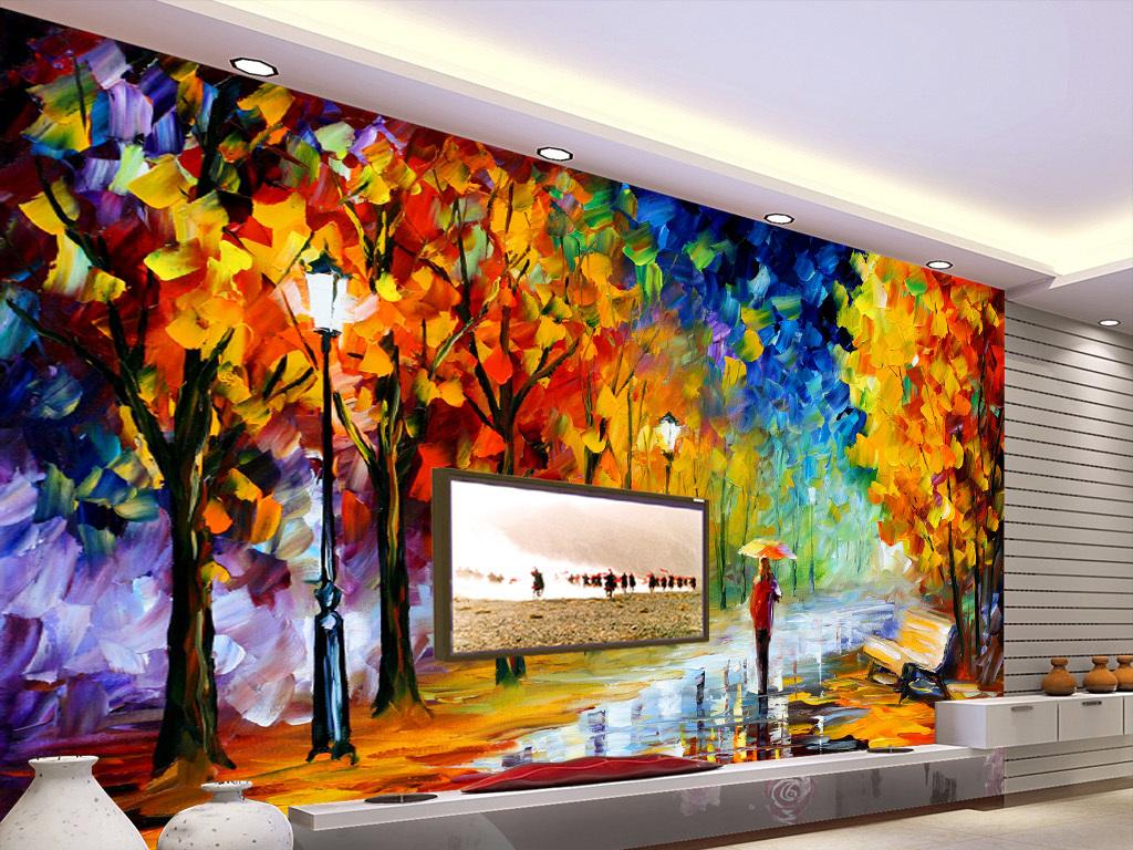 街道枫树3d手绘立体油画背景墙