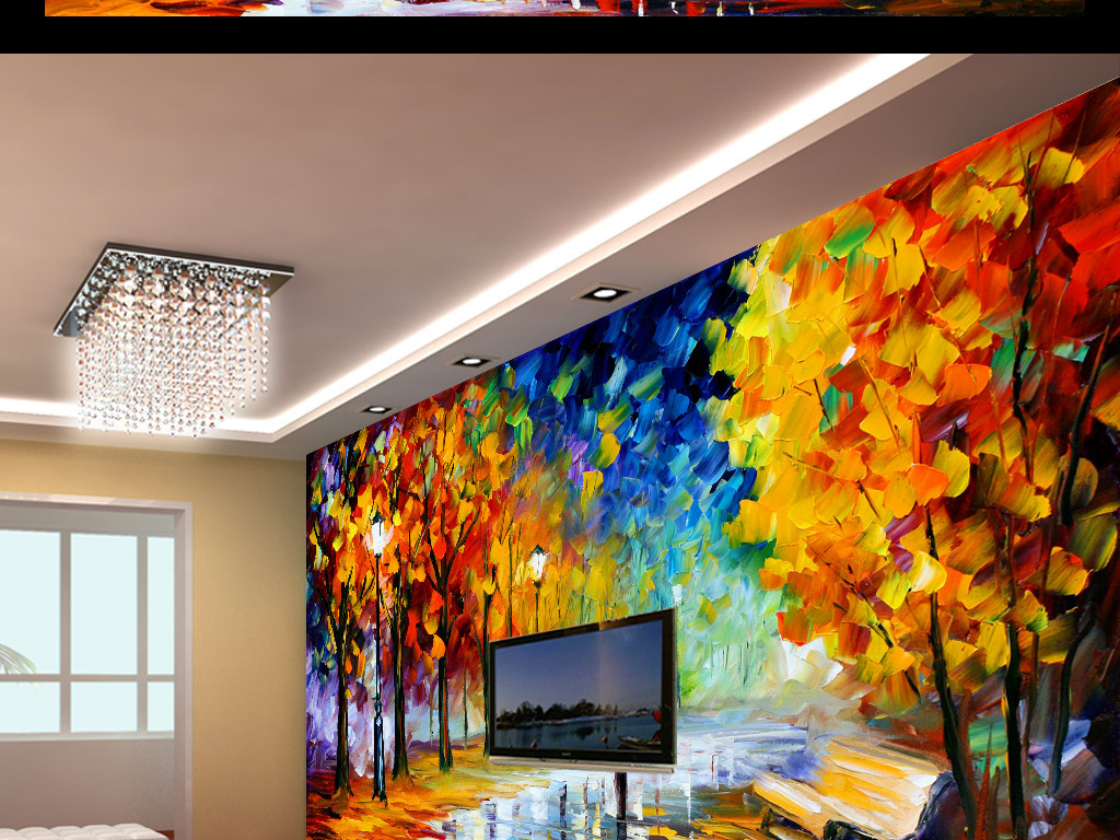 街道枫树3d手绘立体油画背景墙欧式风景油画