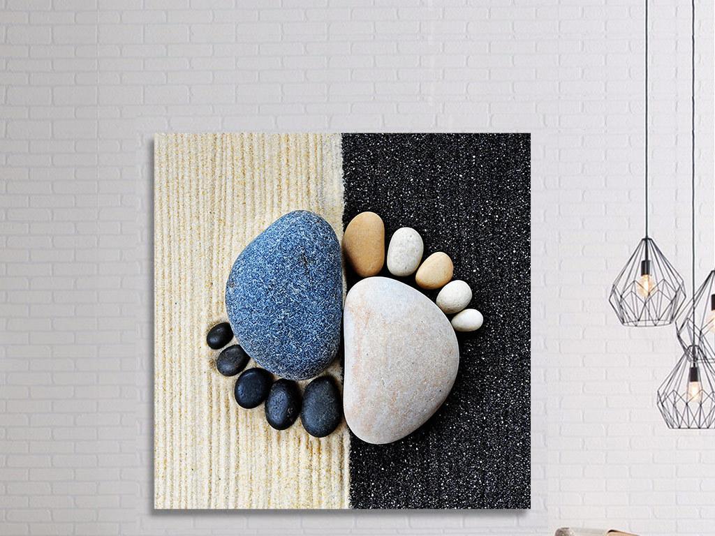 背景墙|装饰画 无框画 静物无框画 > 3d创意彩色鹅卵石脚印无框画  版