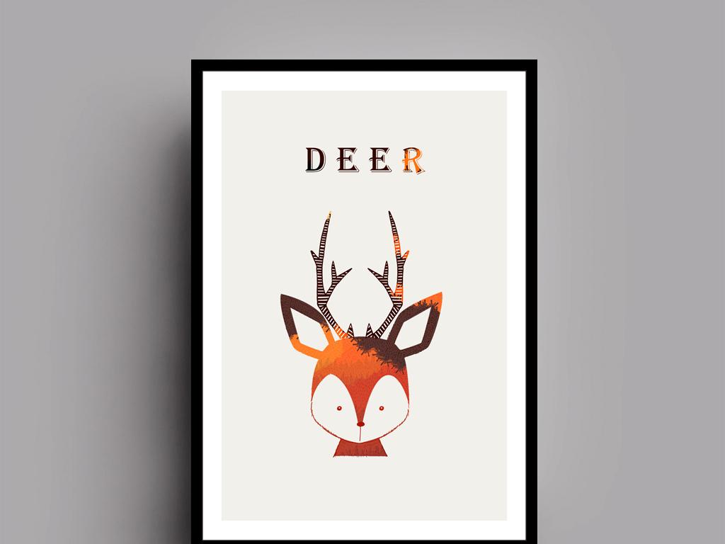 彩色北欧极简风格动物无框画(二)
