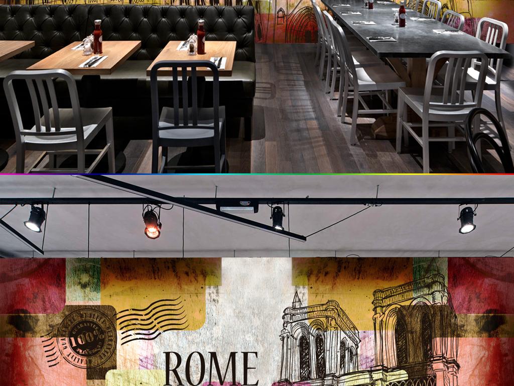 欧洲建筑城市欧式复古怀旧方块酒吧咖啡店