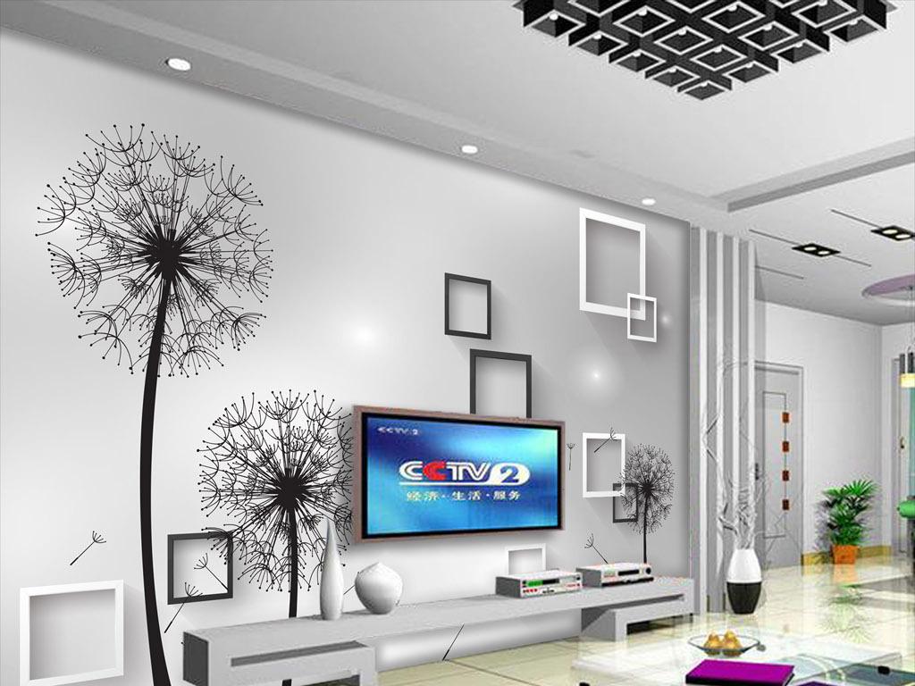 背景墙|装饰画 电视背景墙 3d电视背景墙 > 手绘蒲公英3d立体电视背景