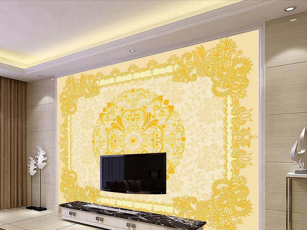 欧式古典花纹地毯天花吊顶背景墙
