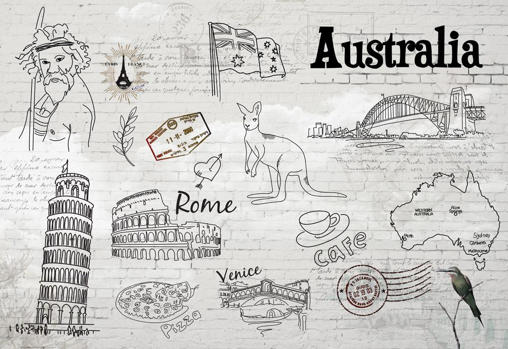 欧美手绘酒吧砖墙背景墙(图片编号:15839794)