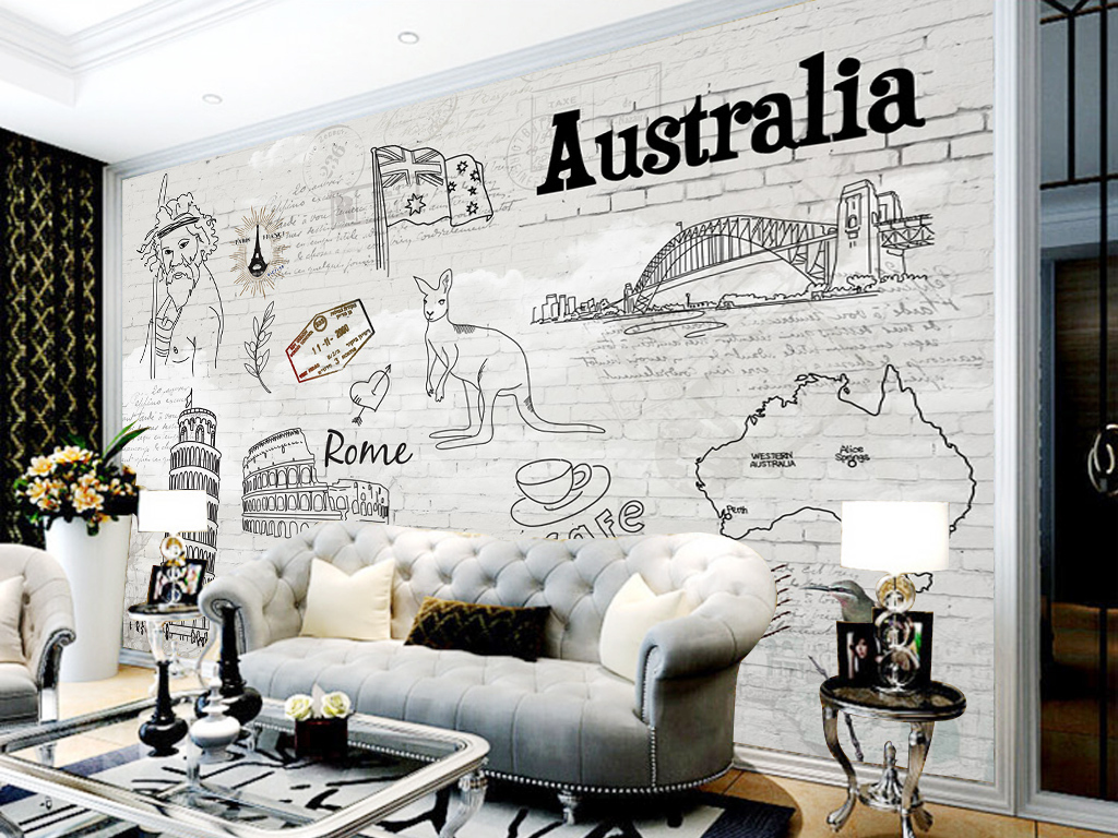 欧美手绘酒吧砖墙背景墙