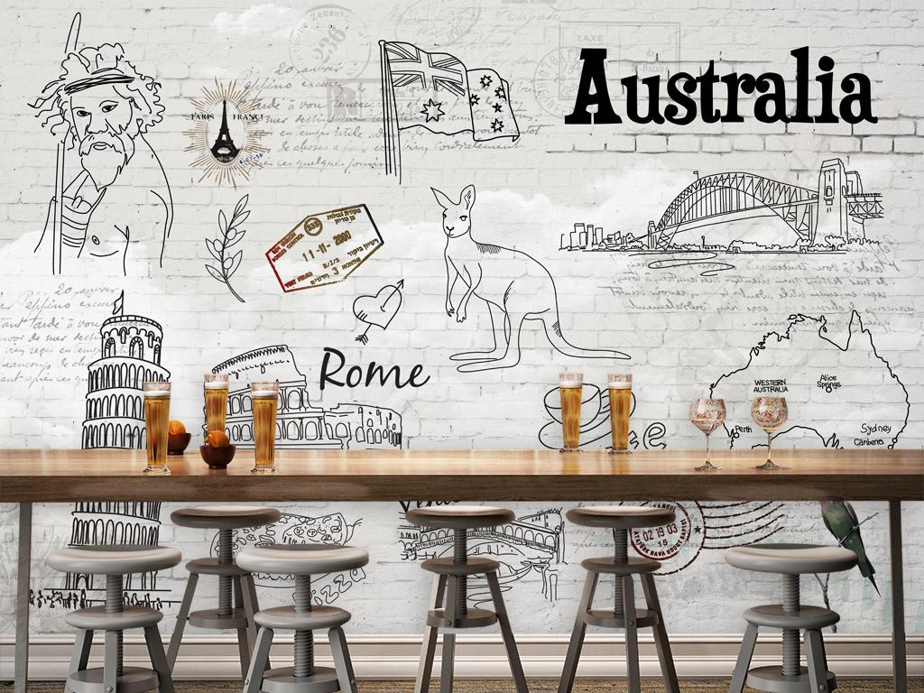 手绘白色砖墙巴黎铁塔甜点下午茶披萨袋鼠酒吧背景手绘背景砖墙背景
