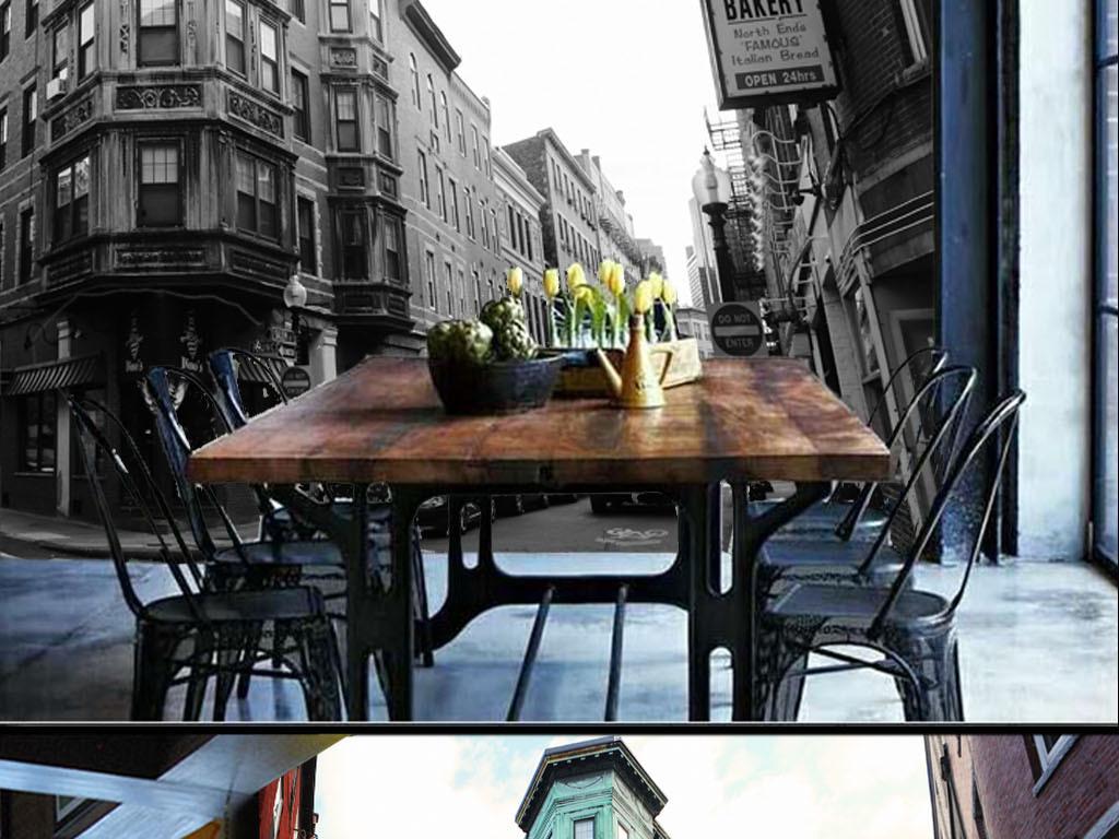 复古怀旧街景英伦风情壁画欧式背景墙(图片编号:)
