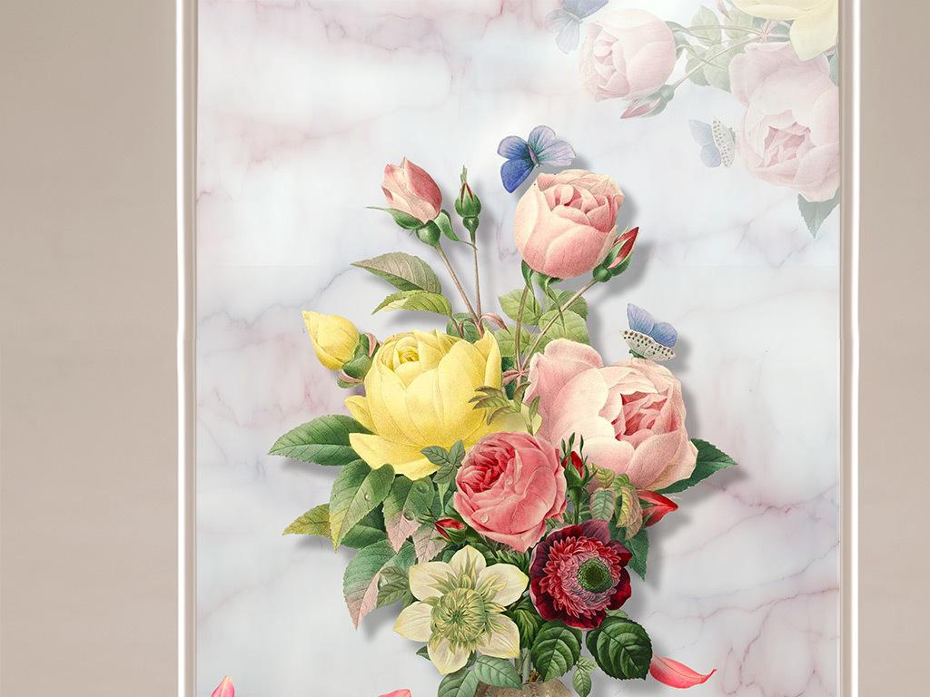 欧式大理石纹背景花瓶花卉玄关(图片编号:15839820)图片