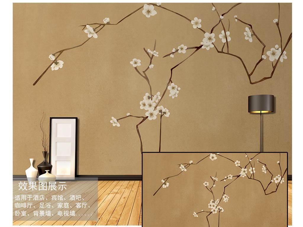 壁纸高清极简工装酒店简欧美式复古旧底纹理禅意