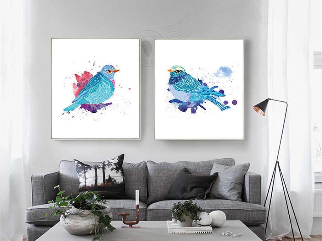 背景墙|装饰画 无框画 动物图案无框画 > 极简风格北欧鸟水彩无框画