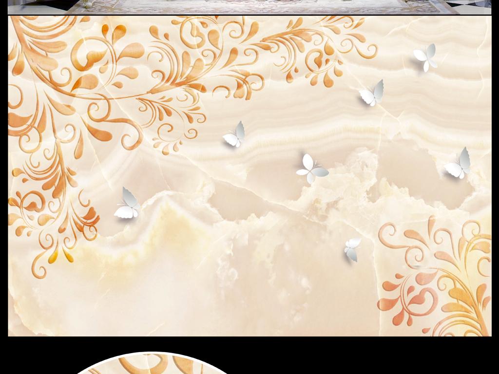大理石欧式花纹蝶恋花(图片编号:15839961)