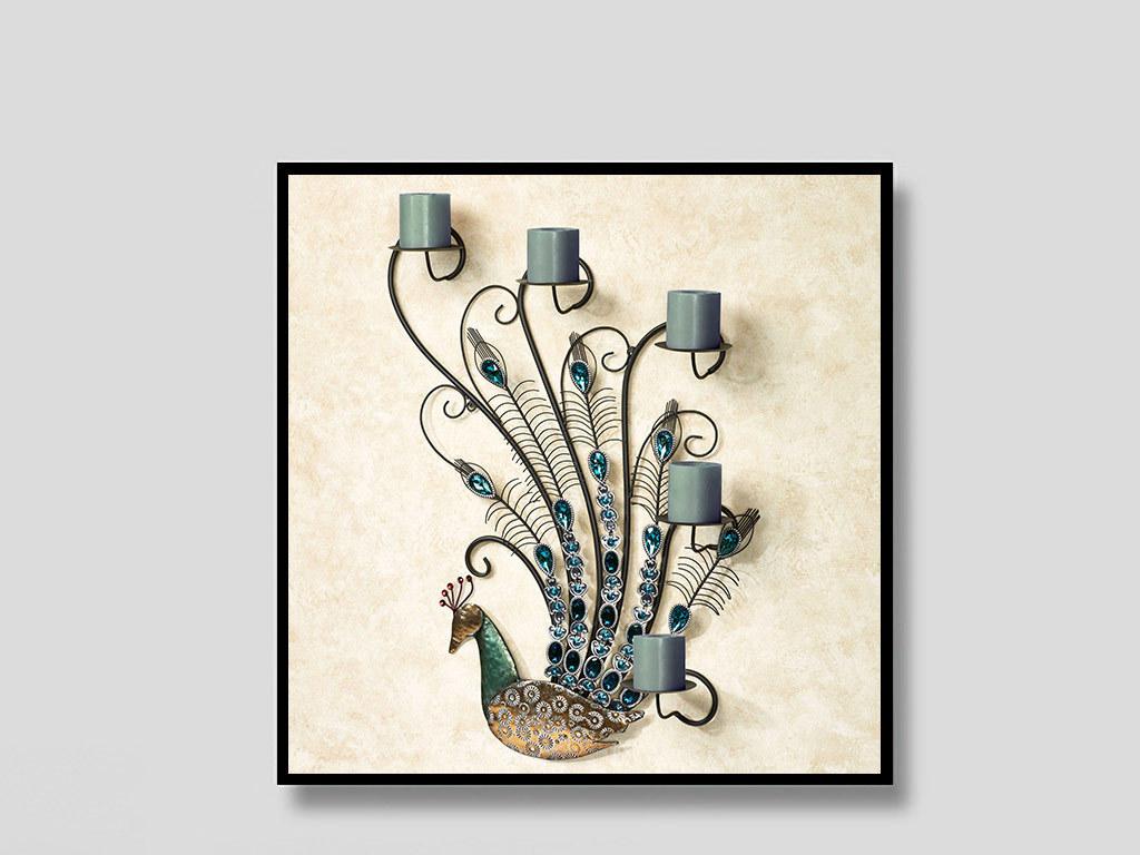 背景墙|装饰画 无框画 动物图案无框画 > 欧式3d创意孔雀蜡烛无框装饰
