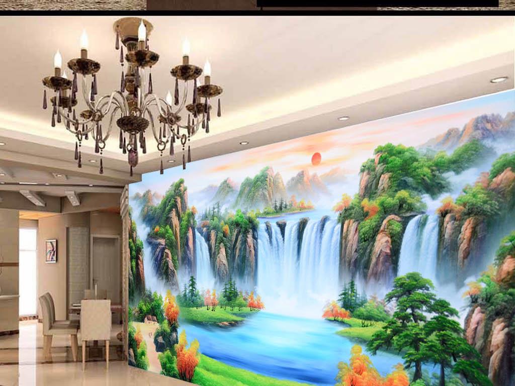 巨幅电视背景墙山水画装饰画大型壁画