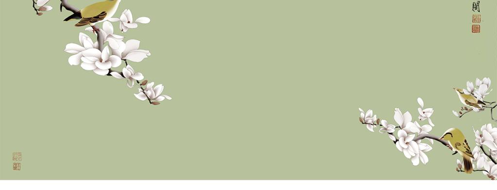 手绘工笔玉兰花鸟中式背景墙装饰画