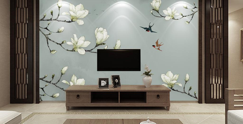 新中式手绘玉兰花鸟中式背景墙装饰画