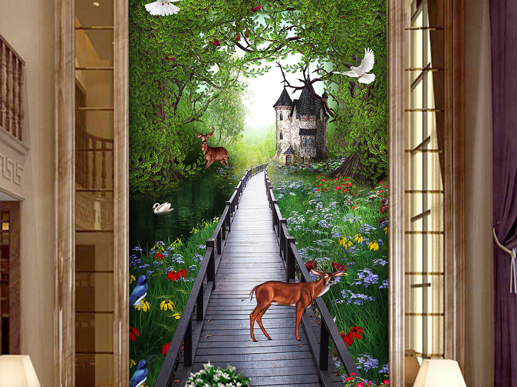 梦幻田园森林梅花鹿木板桥玄关背景墙