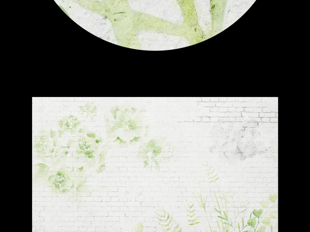 水彩手绘森系装饰画多肉植物白砖墙小清新绿叶子极简仙人掌