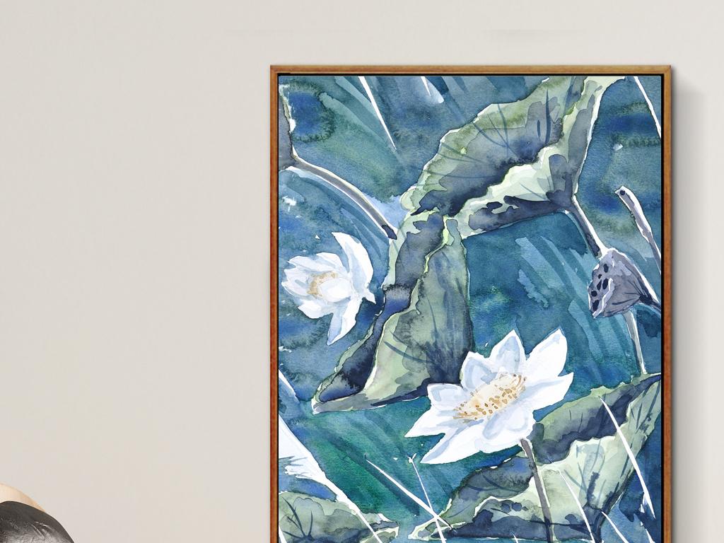新中式莲花荷叶装饰画无框画图片
