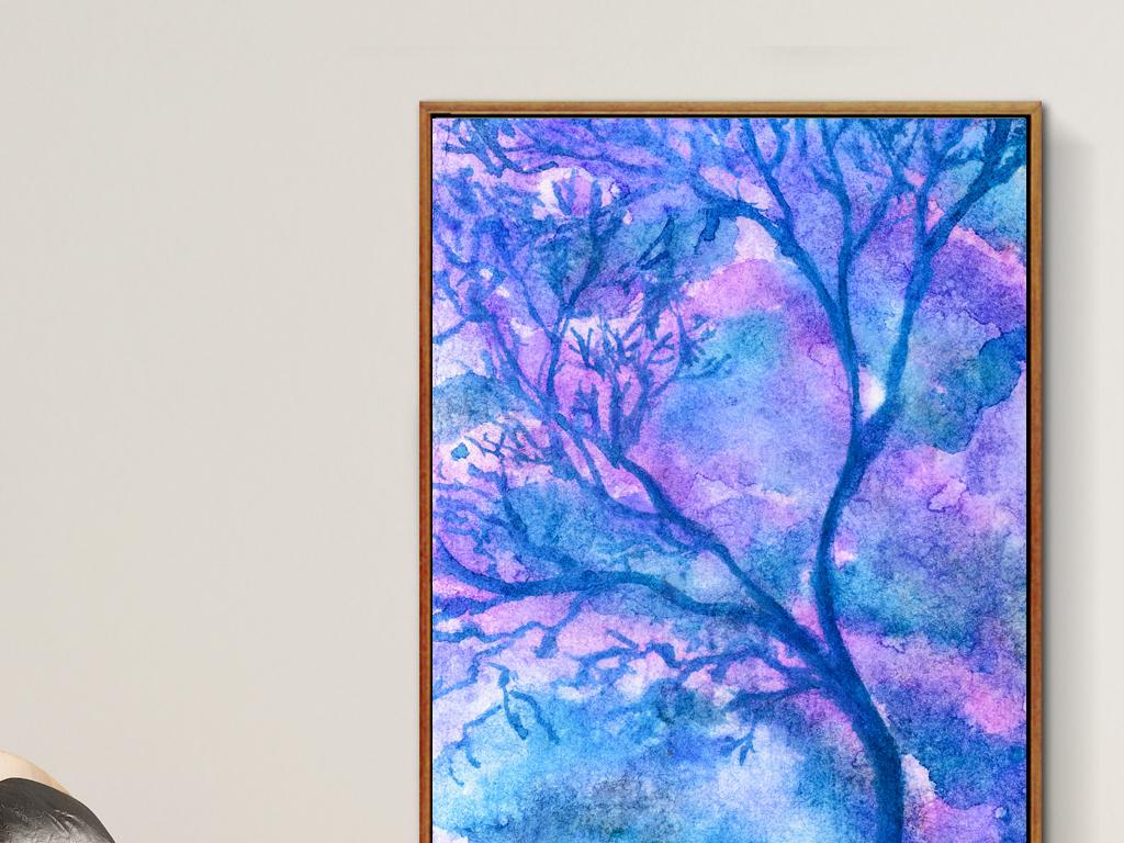手绘水彩新中式艺术蓝色树木抽象树枝水彩树抽象蓝色蓝色抽象抽象水彩