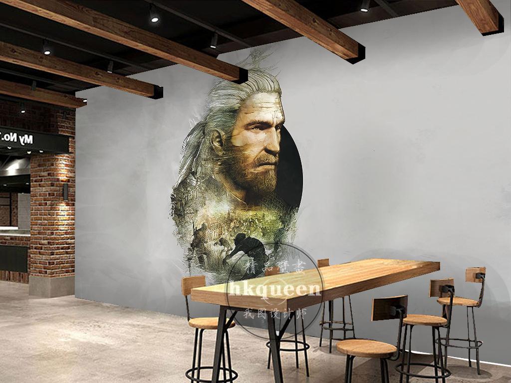 中世纪复古英雄人物头像剪影工装欧式背景墙